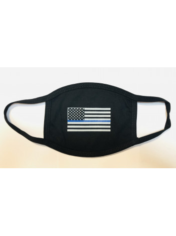 COTTON FACE MASK WITH THIN BLUE LINE FLAG