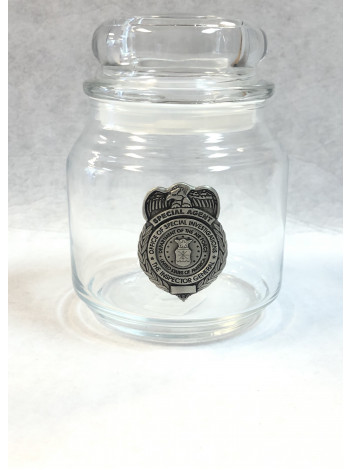 AFOSI CANDY JAR WITH PEWTER BADGE