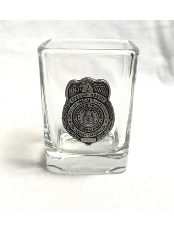 AF OSI, SQUARE SHOT GLASS W/PEWTER BADGE