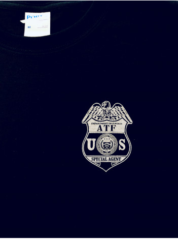 ATF T-SHIRT W/ ATF SPECIAL AGENT BADGE IN SILVER ON FRONT