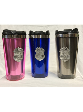 ATF TUMBLER W/ PEWTER ATF SPECIAL AGENT BADGE