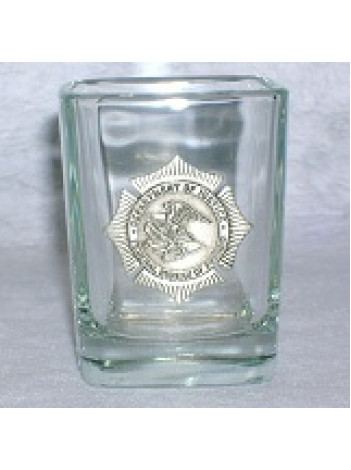 BOP SQUARE SHOT GLASS W/PEWTER BADGE