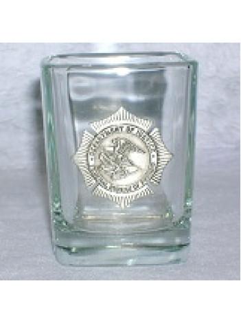 BOP SQUARE SHOT GLASS W/PEWTER BADGE
