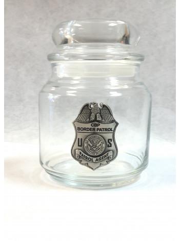 BORDER PATROL CANDY JAR WITH PEWTER BADGE