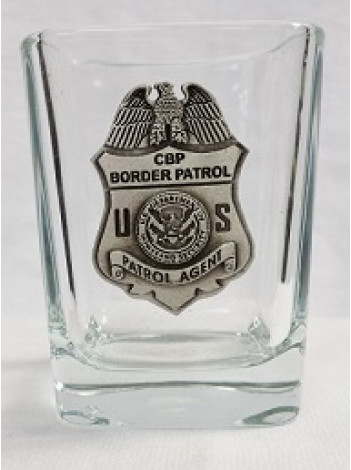 BORDER PATROL SHOT GLASS WITH PEWTER BADGE , SQUARED
