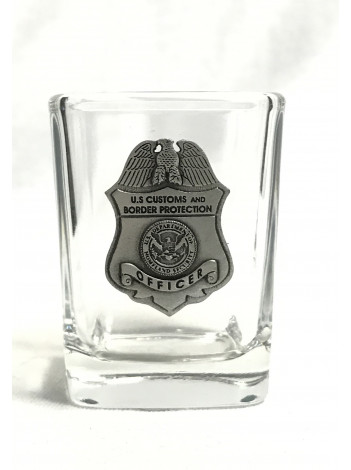 CBP SQUARE SHOT GLASS WITH PEWTER BADGE 4479