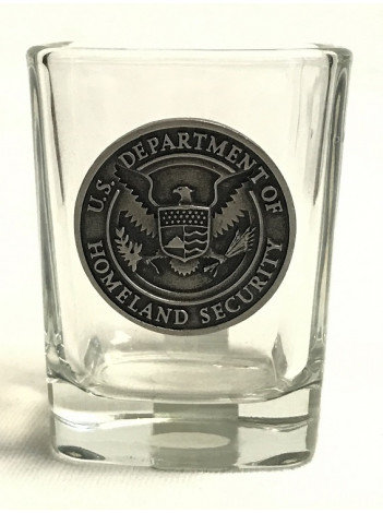 DHS, SQUARE SHOT GLASS W/ PEWTER SEAL