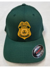 USFS, FLEX FIT HAT FOREST GREEN W/ GOLD BADGE