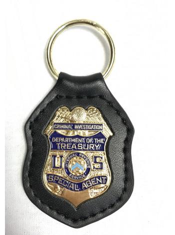 IRS-CI LEATHER BACK KEY RING 10228
