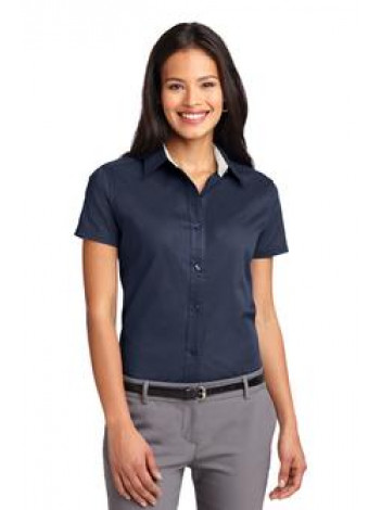 SHORT SLEEVE TWILL BUTTON UP DRESS SHIRT, L508 LADIES