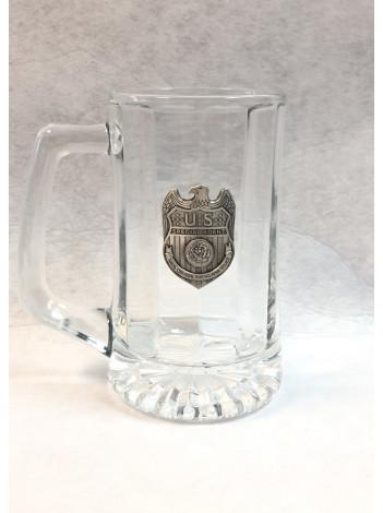 NCIS BEER MUG W/ PEWTER NCIS BADGE