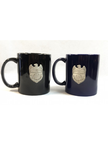 NCIS COFFEE MUG WITH PEWTER BADGE