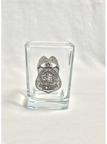 NPS SQUARE SHOT GLASS WITH PEWTER BADGE
