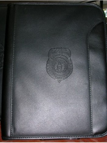 ZIPPERED PADFOLIO WITH AGENCY LOGO EMBOSSED