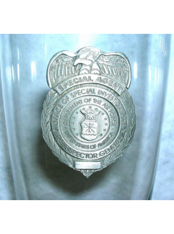 AGENCY GLASS PILSNER WITH PEWTER BADGE