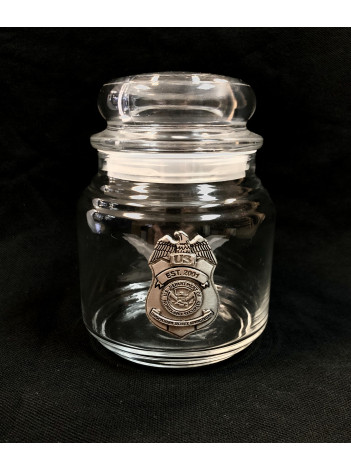 TSA CANDY JAR WITH PEWTER BADGE