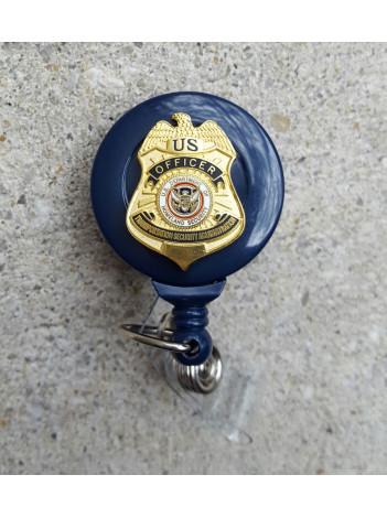 TSA, ID REEL W/ REPLICA TSA OFFICER BADGE 7945