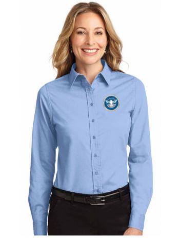 NEW TSA SEAL LONGSLEEVE LADIES TWILL BUTTON UP DRESS SHIRT, L608