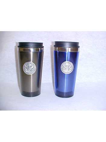 INSULATED TUMBLER WITH PEWTER BADGE
