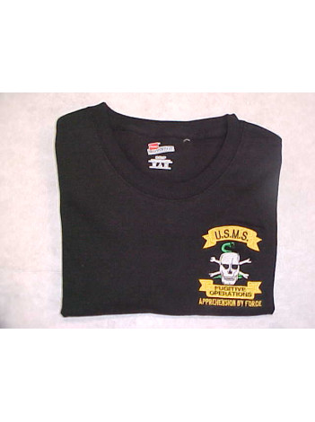 T-SHIRT, USMS SKULL EMBROIDERED ON FRONT 126402