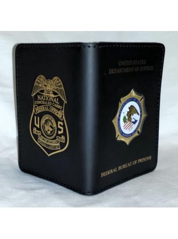 bop credential case with leosa badge imprinted 504mi
