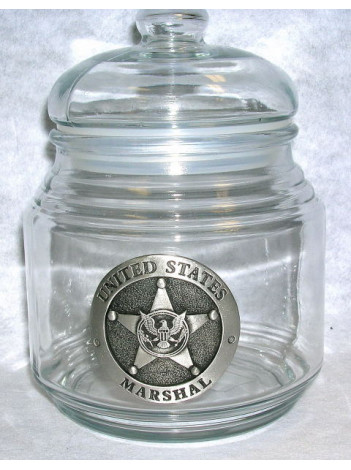 CANDY JAR WITH PEWTER BADGE
