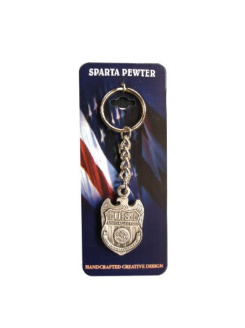 PEWTER KEY RING WITH AGENCY LOGO