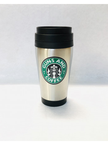 GUNS AND COFFEE STAINLESS STEEL TRAVEL MUG