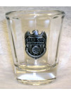 NCIS, ROUND SHOT GLASS W/ PEWTER BADGE