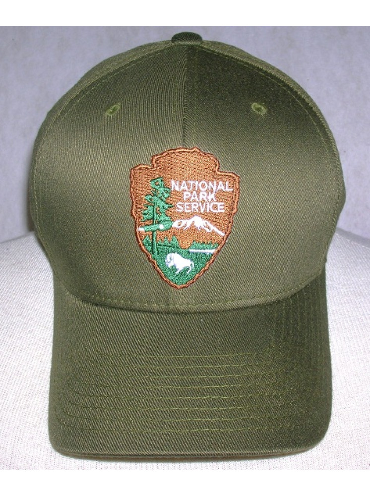 Nps Olive Green Flex Fit Hat With Arrowhead