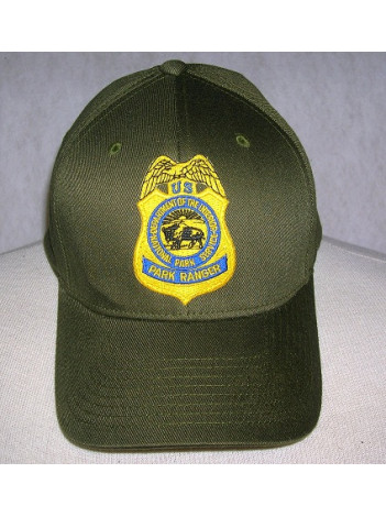 NPS OLIVE GREEN FLEX FIT HAT WITH NPS RANGER BADGE IN GOLD