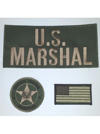 USMS PATCH SET , NEW OLIVE DRAB SET 7321