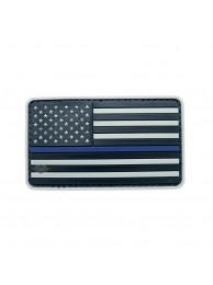 PVC MORALE PATCH THIN BLUE LINE US FLAG GREY 6781