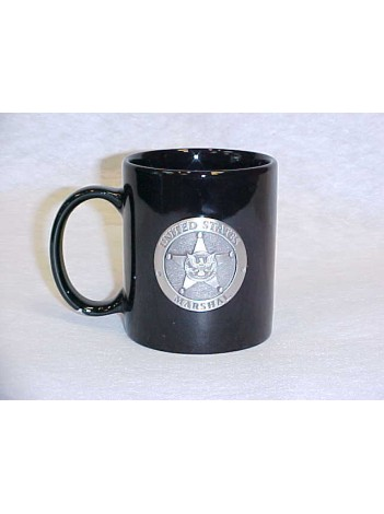 USMS, COFFEE MUG WITH PEWTER STAR
